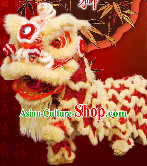 Big Business Opening Ceremony 100_ Natural Long Wool Lion Dancing Equipment Complete Set