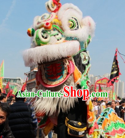 Big Opening Ceremony 100_ Natural Long Wool Lion Dance Equipment Complete Set