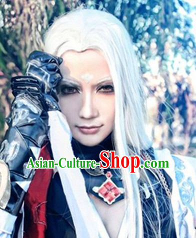 Chinese Ancient Male Style White Long Wigs
