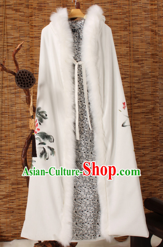 Traditional Chinese Style Long Mantle Cape with Hands Painted Peony