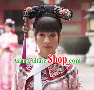 Traditional Asian Chinese Manchu Qing Style Headwear Headpieces