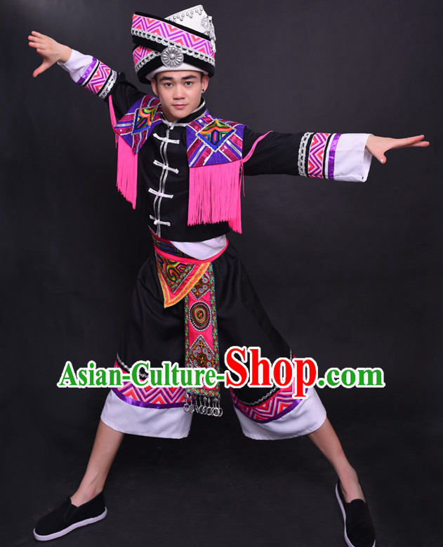 Chinese Chuang Group the Zhuang Nationality Folk Dance Ethnic Wear China Clothing Costume Ethnic Dresses Cultural Dances Costumes Complete Set for Men