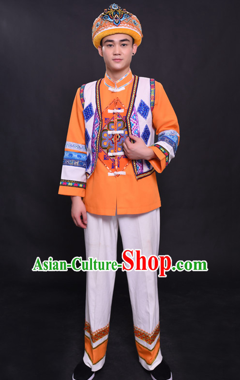 Chinese Mulao Nationality Folk Dance Ethnic Wear China Clothing Costume Ethnic Dresses Cultural Dances Costumes Complete Set for Men Boys