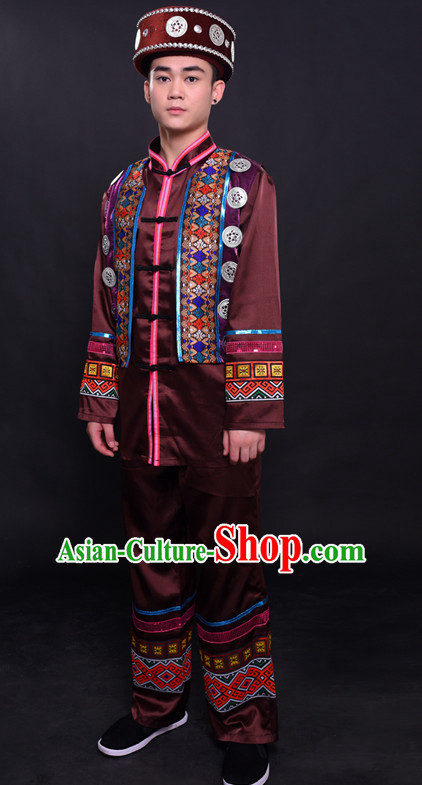 Chinese Dong Nationality Folk Dance Ethnic Wear China Clothing Costume Ethnic Dresses Cultural Dances Costumes Complete Set for Men Boys