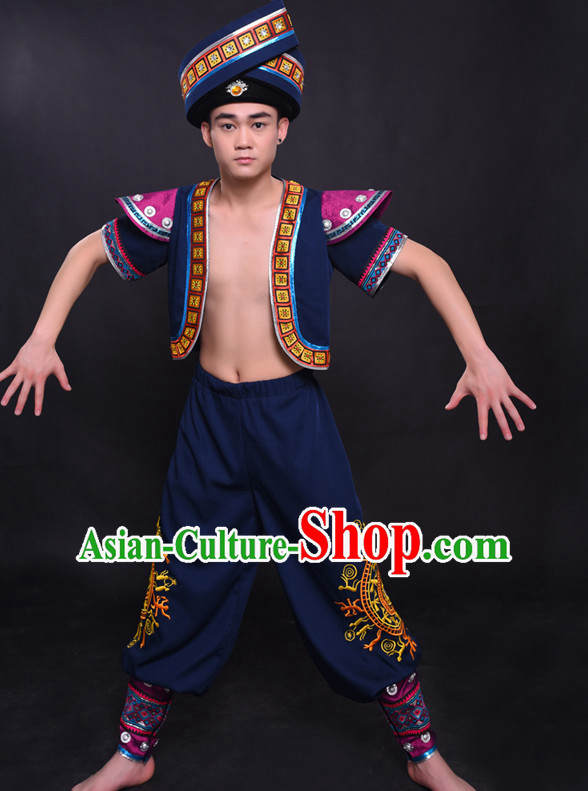 Chinese Chuang Group the Zhuang Nationality Folk Dance Ethnic Wear China Clothing Costume Ethnic Dresses Cultural Dances Costumes Complete Set for Men Boys