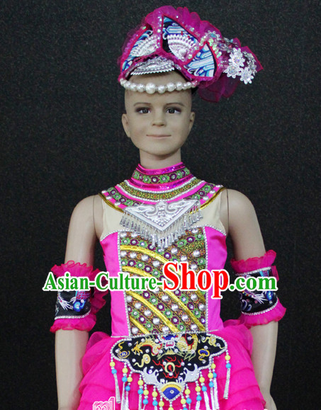 Chinese Mulao Nationality Folk Dance Ethnic Wear China Clothing Costume Ethnic Dresses Cultural Dances Costumes Complete Set for Women Girls