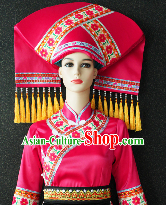 Chinese Zhuang Nationality Folk Dance Ethnic Wear China Clothing Costume Ethnic Dresses Cultural Dances Costumes Complete Set for Women Girls