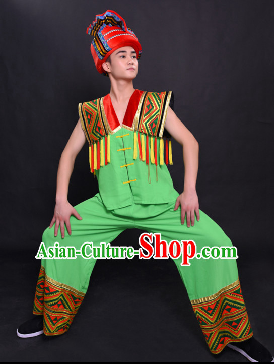 Chinese Hmong Miao Nationality Folk Dance Ethnic Wear China Clothing Costume Ethnic Dresses Cultural Dances Costumes Complete Set for Men Boys