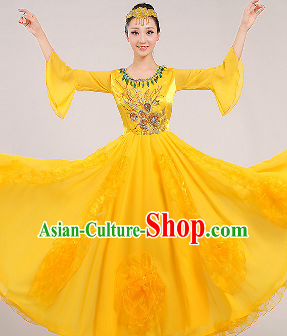 Yellow Chinese Dance costume Dance Classes Uniforms Folk Dance Traditional Cultural Dance Costumes Complete Set