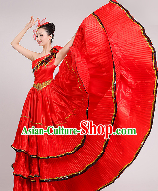 Red Chinese Dance costume Dance Classes Uniforms Folk Dance Traditional Cultural Dance Costumes Complete Set