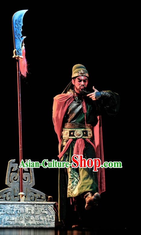 Chinese Classical Gwan Gong Guan Yu Dancing Dance Costumes Complete Set for Men