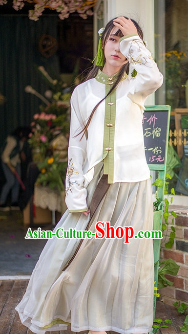 Traditional Chinese Ancient Dynasty Hanfu Suits Dresses Skirt and Hair Jewelry Complete Set for Women