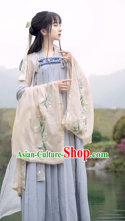 Traditional Chinese Ancient Tang Dynasty Hanfu Suits Dress Skirt and Hair Jewelry Complete Set for Women