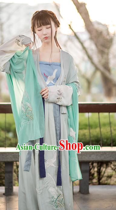Traditional Chinese Ancient Han Dynasty Hanfu Suits Dress Skirt and Hair Jewelry Complete Set for Women