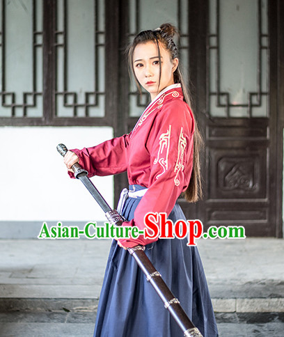 Traditional Chinese Ancient Han Dynasty Knight Scholar Garment Suits Dresses Complete Set for Women