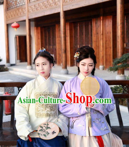 Traditional Chinese Ancient Ming Dynasty Lady Embroidered Clothing Complete Set for Women