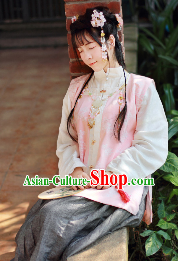 Traditional Chinese Pink Ming Dynasty Hanfu Suits Clothes Dresses Skirt and Hair Jewelry Complete Set for Women