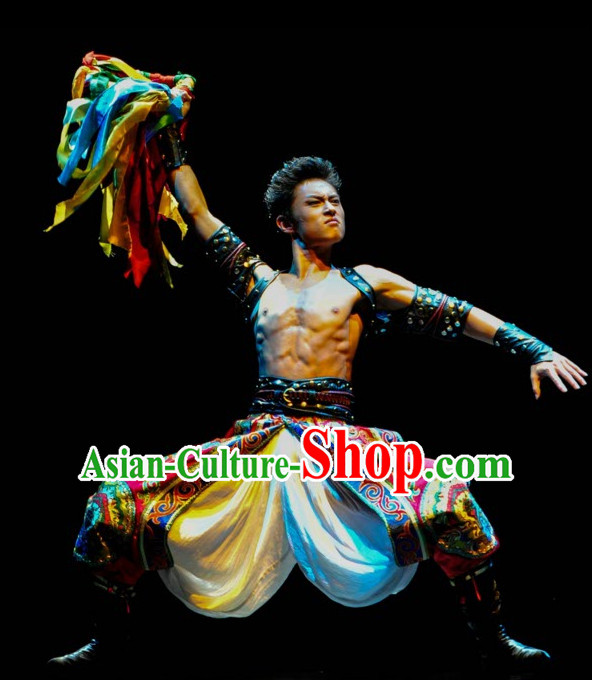 Tibetan Chinese Traditional Dance Costume Folk Dancing Costumes Traditional Chinese Dance Costumes Asian Dance Costumes Complete Set for Men