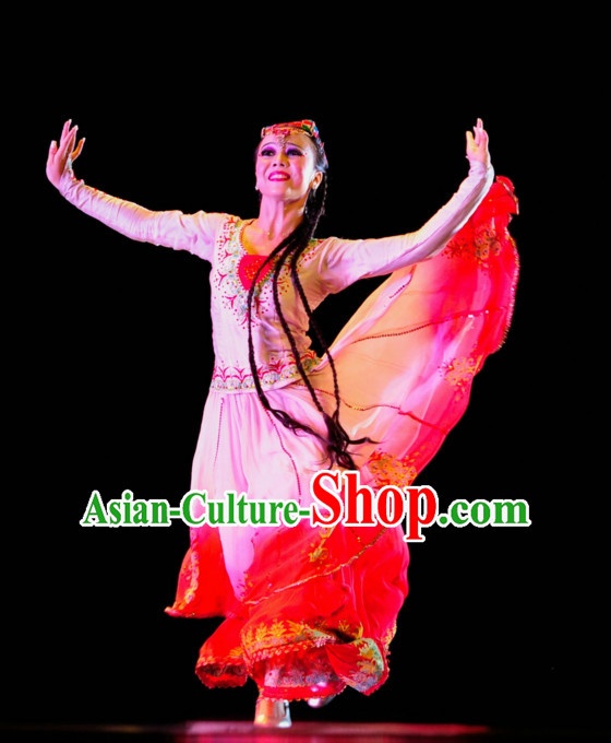 Xinjiang Ethnic Traditional Dance Costume Folk Dancing Costumes Traditional Chinese Dance Costumes Asian Dance Costumes Complete Set for Women