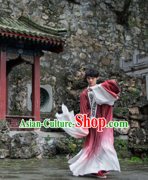 Chinese Classic Water Sleeves Dance Costume Folk Dancing Costumes Traditional Chinese Dance Costumes Asian Dancewear Complete Set for Men Boys