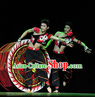 Chinese Classic Ethnic Dance Costume Folk Dancing Costumes Traditional Chinese Dance Costumes Asian Dancewear Complete Set for Men Boys
