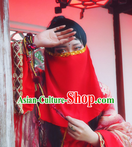 Red Chinese Ancient Style Mysterious Lady Face Veil