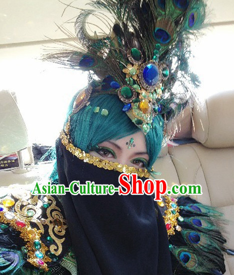 Black Chinese Ancient Style Mysterious Lady Face Veil