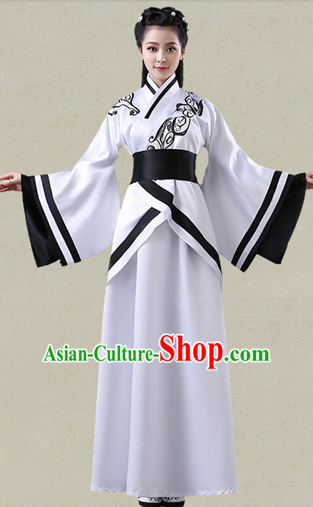 White Hanfu Clothing Custom Traditional Han Dynasty Chinese Hanfu Dreses Han Clothing Hanzhuang Historical Dress and Accessories Complete Set