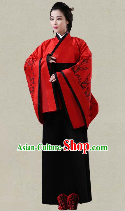 Red Hanfu Clothing Custom Traditional Han Dynasty Chinese Hanfu Dreses Han Clothing Hanzhuang Historical Dress and Accessories Complete Set