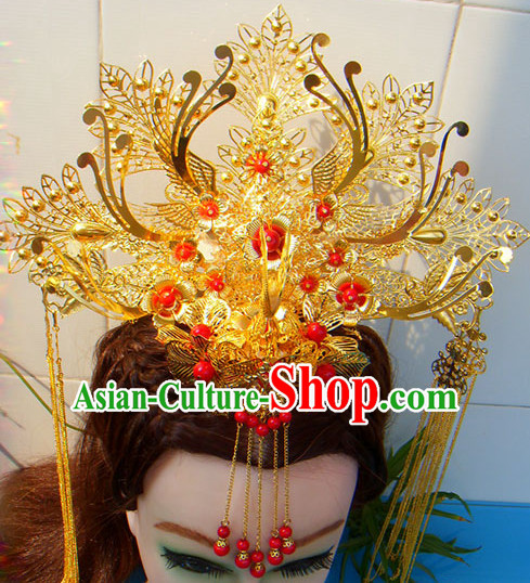 Gold Chinese Ancient Style Empress Princess Hair Jewelry Phoenix Headwear Head Accessories Set