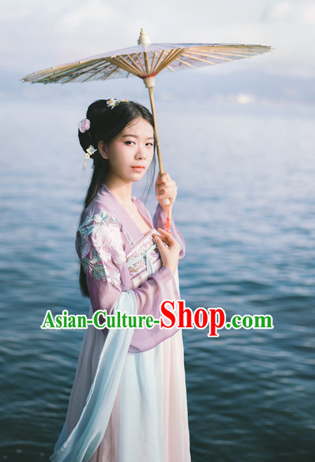Ancient Tang Dynasty Women Han Fu_Hanfu Clothing Hanzhuang Historical Dress Historical Clothing and Accessories Complete Set for Women