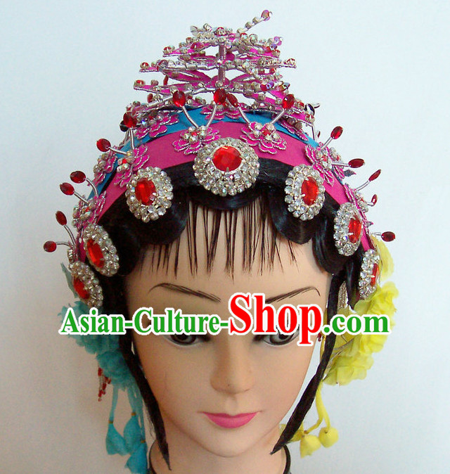 Top Traditional Chinese Opera Black Wigs and Hair Accessories Props for Adults and Children