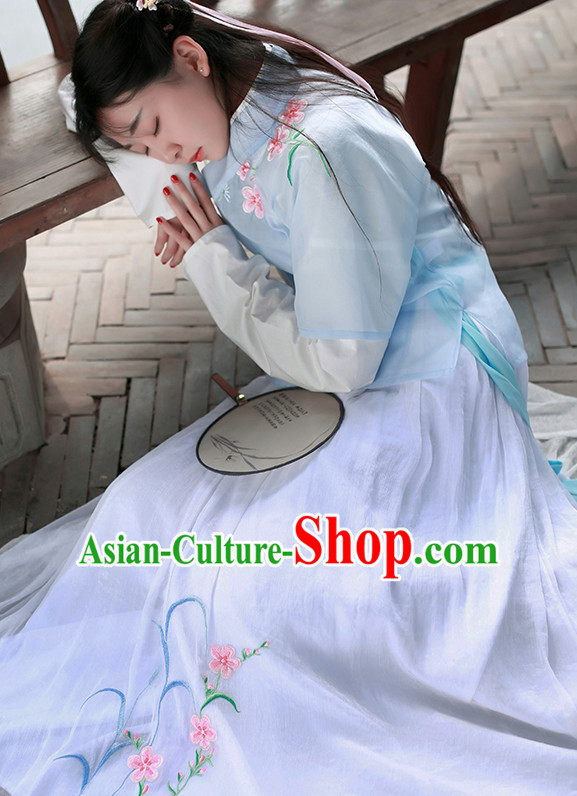 Chinese Traditional Dress Hanfu Costume China Kimono Robe Ancient Chinese Clothing National Costumes Gown Wear and Head Jewelry for Women Girls