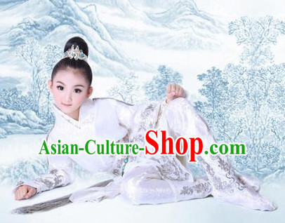 Chinese Traditional Dress Hanfu Costume China Kimono Robe Ancient Chinese Clothing National Costumes Gown Wear and Head Jewelry for Kids Children Boys