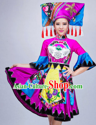 Chinese Ethnic Dance Costumes Traditional Chinese Clothing Dress Dancewear Dance Clothes Outfits Dresses and Hat Complete Set for Women