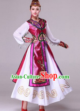 Chinese Mongolian Dance Costumes Traditional Chinese Clothing Dress Dancewear Dance Clothes Outfits Dresses and Hat Complete Set for Women