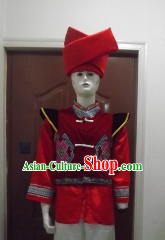 Chinese Folk Dance Ethnic Dresses Traditional Wear Clothing Cultural Dancing Costume Complete Set for Men