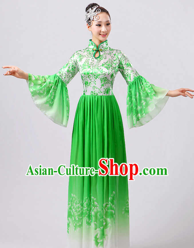 Green Chinese Theater Traditional Dance Ribbon Dancing Long Sleeve Leotard China Fan Dance Costume Complete Set