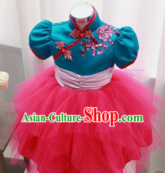 Chinese Theater Traditional Dance Ribbon Dancing Long Sleeve Leotard China Fan Dance Costume Complete Set for Kids