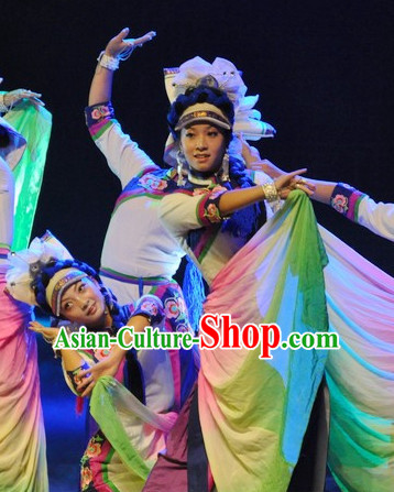 Chinese Yunnan Bai Folk Ethnic Dance Costume Traditional Minority Clothing National Costumes and Headwear Complete Set for Women