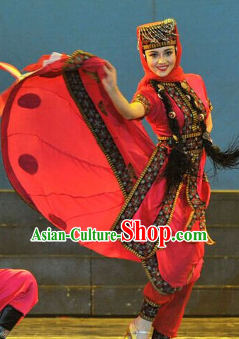 Chinese Xinjiang Folk Ethnic Dance Costume Traditional Minority Clothing National Costumes and Headwear Complete Set for Women