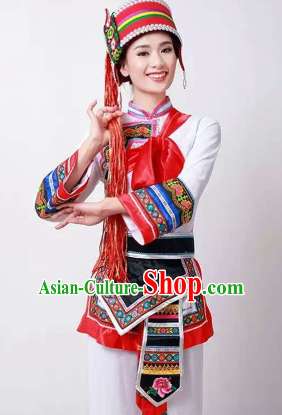 Chinese Bai People Folk Dance Ethnic Dresses Traditional Wear Clothing Cultural Dancing Costume Complete Sets for Women
