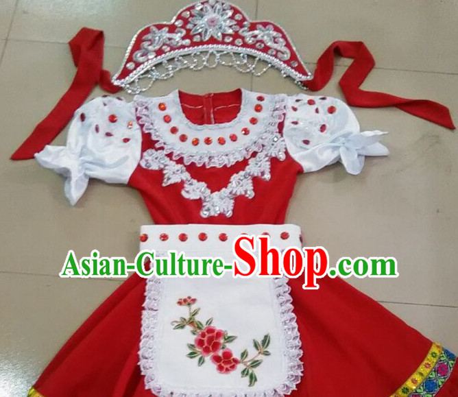 Russian People Folk Dance Ethnic Dresses Traditional Wear Clothing Cultural Dancing Costume Complete Sets for Women