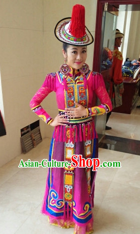 Chinese Yugu People Folk Dance Ethnic Dresses Traditional Wear Clothing Cultural Dancing Costume Complete Sets for Women