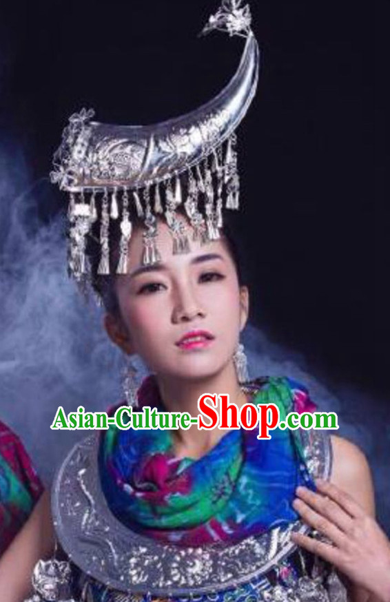Chinese Ethnic Handmade Silver Hat for Women