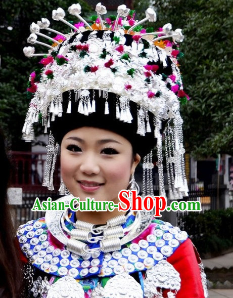 Chinese Miao Tribe Handmade Silver Hat for Women