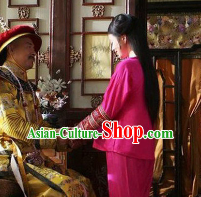 Qing Dynasty Emperor's Concubine Inside Clothing Embroidered Pajamas Complete Set for Women