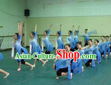 Ancient Chinese Color Gradient Classical Dance Costumes Complete Set for Women Girls