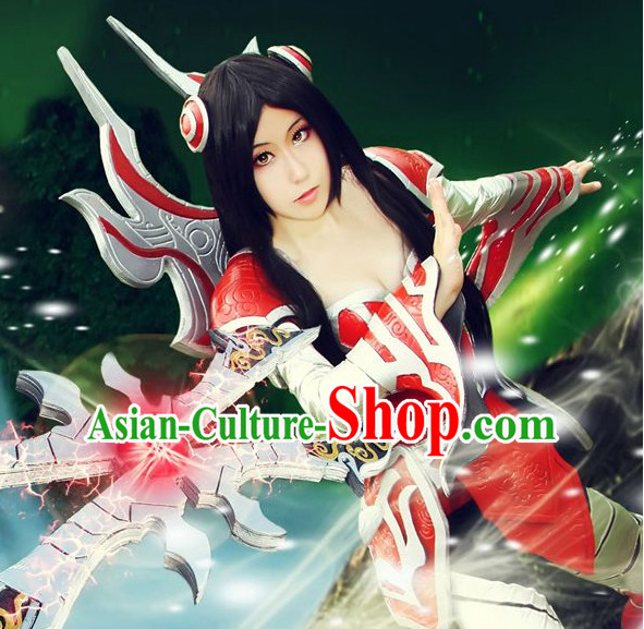 Chinese Superheroine Cosplay Costumes and Accessories Complete Set for Women Girls