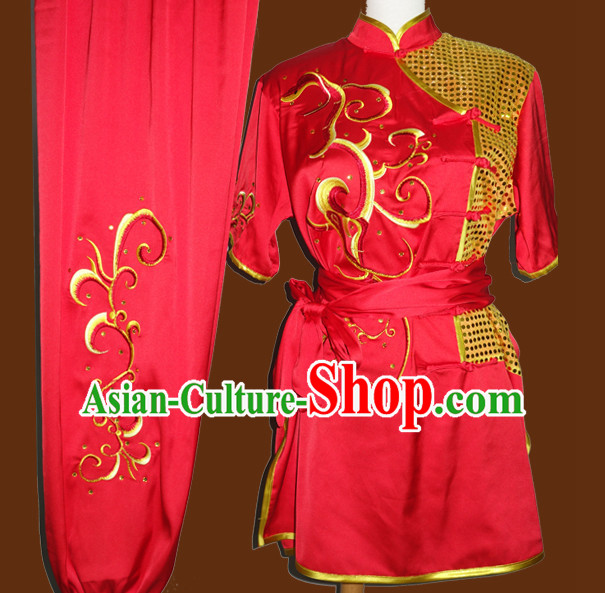 Top Gold Asian Championship Embroidered Kung Fu Martial Arts Uniform Suit for Women Men